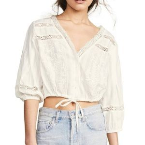 Free People White Lace Embroidery Cropped Top NWOT